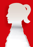 Woman head paper silhouette. Royalty Free Stock Photos