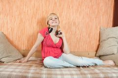 Woman with head phones Royalty Free Stock Photo