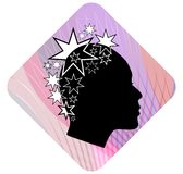 Woman head profile with extravagant star patterned hairstyle on pink wavy background. Black and white stylization. Female face pro Royalty Free Stock Images
