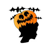 Woman head with pumpkin on it, halloween concept Royalty Free Stock Photos