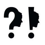Woman head with question mark vector illustration Royalty Free Stock Photo