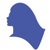 Woman Head Silhouette. Beautiful Girl Icon. Stock Photo