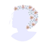 Woman head silhouette crown flowers Royalty Free Stock Photos