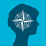 Woman head silhouette icon with a compass rose. Sign of an  female head silhouette icon with a compass rose, vector illustration Stock Images