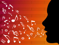 Woman head silhouette with music notes stock illustration