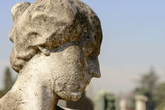 Woman head of smoothened stone  at Monumental Cemetery, Milan Royalty Free Stock Images