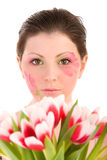 Woman head and tulips Royalty Free Stock Image