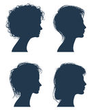 Woman head vector silhouettes, female face profiles, girl modern hairstyle stock illustration