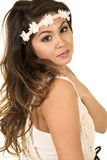 Woman head with white headband close look Royalty Free Stock Photography