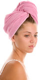 Woman with head wrapped towel Stock Photo