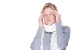 Woman with headache. Full isolated portrait of a beautiful caucasian woman with headache Stock Image