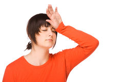Woman with headache Royalty Free Stock Image