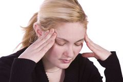 Woman with a Headache Stock Images