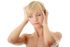 Woman with headache Stock Photos