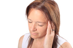 Woman with headache Stock Photo