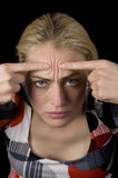 Woman with headache. Woman showing where her headache is Stock Photos