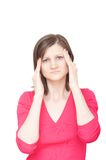 Woman with headache. Young woman touching her temples with both hands having a headache stock images