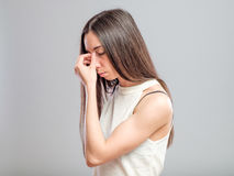 Woman with a headache Royalty Free Stock Photo