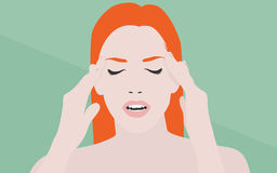 Woman with headache flat illustration Royalty Free Stock Images