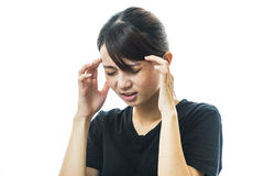 Woman headache holding her hand to the head Royalty Free Stock Photos