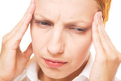 Woman with headache isolated on white Royalty Free Stock Images