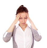 Woman headache isolated white Royalty Free Stock Image