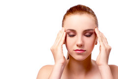The woman with headache isolated on white Royalty Free Stock Photography