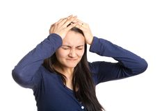 Woman with headache isolated on white background Royalty Free Stock Image