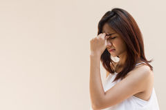 Woman with headache, migraine, stress, insomnia, hangover Royalty Free Stock Photos