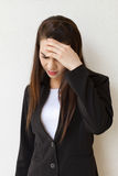 Woman with headache, negative feeling Stock Photo