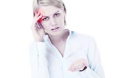 Woman and headache stock image