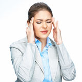 Woman headache portrait, touching head. Business w Stock Photo