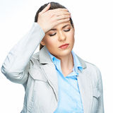 Woman headache portrait. White background. Royalty Free Stock Photos