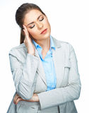 Woman headache portrait. White background. Royalty Free Stock Photography