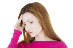Woman with headache or problem Royalty Free Stock Images