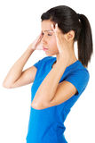 Woman with headache or problem Royalty Free Stock Photography