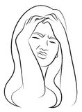 Woman with Headache. Simplified Sketch of a Woman with Headache Royalty Free Stock Images