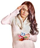 Woman with headache take pills and tablets. Stock Images