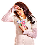Woman with headache take pills and tablets. Stock Photo