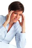 Woman with a headache. Royalty Free Stock Image