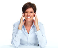 Woman with a headache. Stock Photos