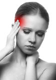 Woman with headache on white background Stock Photos