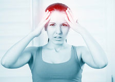 Woman with a headache Royalty Free Stock Images