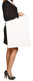 Woman headless holding a blank white board Royalty Free Stock Photo