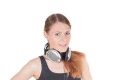 Woman and headphone Royalty Free Stock Image