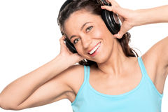 Woman with headphone Royalty Free Stock Image