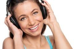 Woman with headphone Stock Image