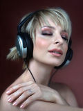 Woman with headphone Royalty Free Stock Photos