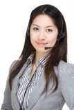 Woman with headphone Stock Images