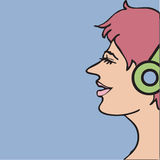 Woman with headphone Royalty Free Stock Photo
